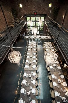 long rustic-modern tables