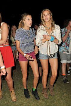 Cara Delevingne and sister Poppy Delevingne, Coachella2014