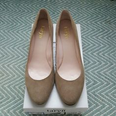 Tayrn, size 6.5, Color Camel Worn once for a few hours. They're just too big.   Purchased recently for $60. taryn Shoes Wedges