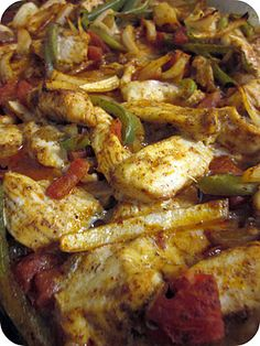 "Baked Chicken Fajitas. ""Throw all the fajita ingredients in the oven and let it bake together. It's amazing!"""