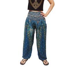 Peacock Strips Comfy Yoga Pants Wide Leg Pants (YG01-13)