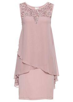 Šaty z džerseju a šifónu • ružové drevo • bonprix obchod Sheer Chiffon, Chiffon Dress, Peplum Dress, Flirt, The Dress, Midnight Blue, Mother Of The Bride, Outfit, Elegant