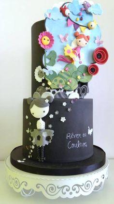 Color dreams cake for Depressed Cake Shop Gorgeous Cakes, Pretty Cakes, Amazing Cakes, Unique Cakes, Creative Cakes, Fondant Cakes, Cupcake Cakes, Chalkboard Cake, Gateaux Cake