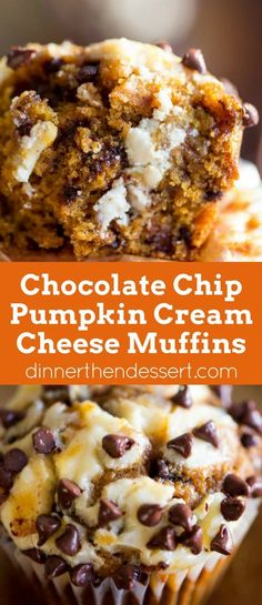 Chocolate Chip Pumpkin Cream Cheese Muffins - Dinner, then Dessert Chocolate Chip Pumpkin Cream Cheese Muffins are the perfect coffee shop or bakery style treat you& love all year round full tangy, sweet and warm flavors. Muffins Chocolate Chip, Muffins Blueberry, Zucchini Muffins, Pumpkin Chocolate Chips, Pumpkin Chocolate Cheesecake, Thanksgiving Chocolate Desserts, Cookie Cheesecake, Chocolate Torte, Cranberry Muffins