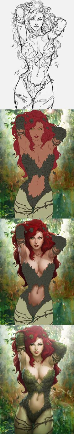 Stanley Lau Artgerm A Process Artgerms Sideshow Collectibles Poison Ivy 2 Digital Art Tutorial, Digital Painting Tutorials, Art Tutorials, Digital Paintings, Comic Books Art, Book Art, Art Manga, Art Graphique, Poison Ivy