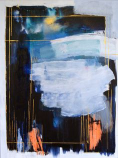 Large blue and white abstract painting original by MossAndBlue