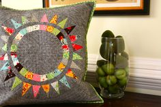 pillow, notice the quilting on the grey fabric.
