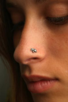 ELEPHANT NOSE Stud / nose RING Sterling Silver. Choose your gauge and hook type gauge
