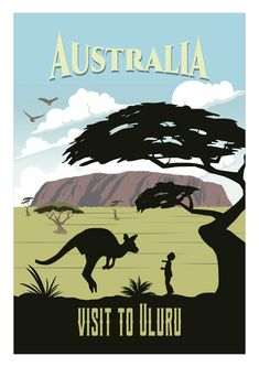 Australia (Country and Continent) Travel Poster the Down Under