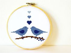 Counted Cross stitch Pattern PDF. Instant download. Love Birds in Blue. Includes easy beginner instructions.
