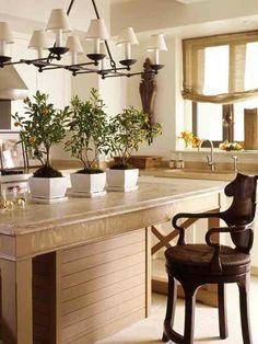 Kitchen with X-island & wonderful light fixture - McAlpine Booth & Ferrier
