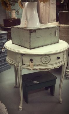 Love, love, love this round ivory end table.  Price: $139 Sofa End Tables, Entryway Tables, Sell Items, Painted Furniture, Trunks, Ivory, Victorian, Coffee, Rose