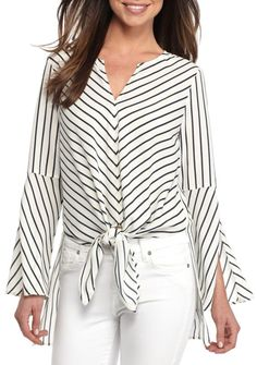 Fever Women's High Low Stripe Tunic - - No Size Stripped Shirt, Blouse Models, Short Tops, Fashion Pants, Stylish Outfits, Shirt Blouses, Dresses For Work, Tunic, Clothes For Women