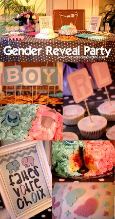 Lots of Free Printables for a Gender Reveal Party Banner + Signs + Cupcakes decorations