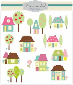 Digital clip art for all use house  INSTANT by decorartist on Etsy, $4.80