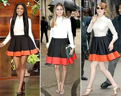 One dress...three gorgeous ladies! Nicki Minaj, Olivia Palermo, and Emma Stone in Valentino's Color-Block Dress. Who do you think wore it better?
