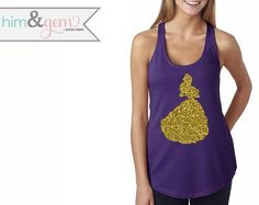 Beauty and the Beast Glitter Tank // Disney's Belle by HimAndGem