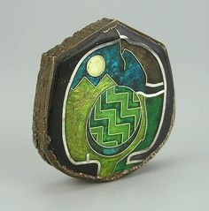 Paperweight by William Harper 1975-76 Elektroformed copper, silver, gold, enamel. The Enamel Arts Foundation - Collection