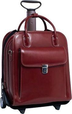 d040fc25798bf McKlein USA W Series La Grange Leather Vertical Detachable-Wheeled Ladies   Briefcase Red -