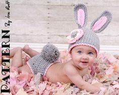 Easter Bunny Hat and Diaper Cover Set    When I learn how to crochet, I am SO making this!