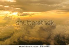 Sunset, sunrise with clouds, light rays atmospheric effect