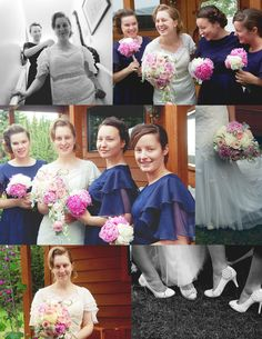 Vintage inspired wedding dress and bridesmaids dresses.