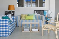 Loose Fit Urban cover for Klippan 2-seat sofa in Cobalt - Brera Quadretto. Loose Fit Urban cover for Klippan 2-seat sofa in Lapis - Brera Largo. Designers Guild by Bemz.