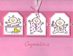 Girl Baby Firsts using Stampin' Up! Baby Firsts stamp set.