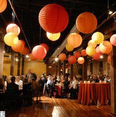 Wedding decor / orange lanterns