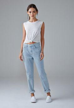 Light Wash Mom Jeans   Forever 21 - 2000154070