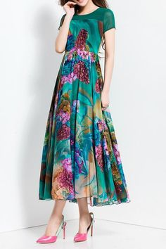 Justicia Carnea Print Maxi Dress - BLACKISH GREEN 3XL