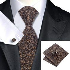Подарочный галстук коричневый в красивых узорах - купить в Киеве и Украине по недорогой цене, интернет-магазин