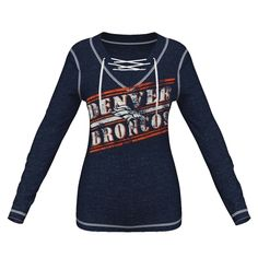 Denver Broncos Majestic Women's Overtime Queen V-Neck Pullover Sweatshirt – Navy Blue