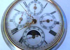 Swiss Triple Date Moon Phase Acier Garanti Pocket Watch | eBay