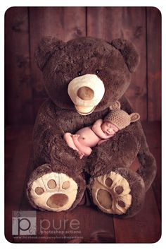 Newborn photography. If you have your own bear you could you this in your little ones yearly pictures to watch how they grow!