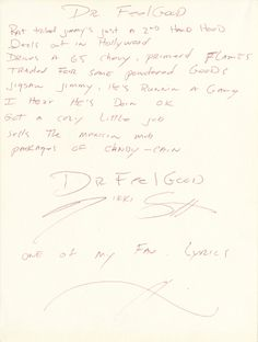 "Nikki Sixx of Motley Crue handwritten signed lyrics for ""Dr. Feelgood"".   Rock 'n' Roll Auction / December 18th, 2013   https://www.profilesinhistory.com/auctions/rock-roll-auction-59-2/"