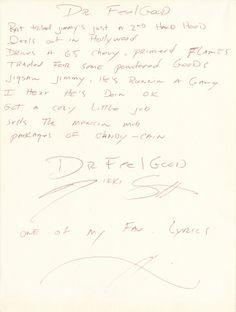 "Nikki Sixx of Motley Crue handwritten signed lyrics for ""Dr. Feelgood"".   Rock 'n' Roll Auction / December 18th, 2013   https://www.profilesinhistory.com/auctions/rock-roll-auction-59-2/"