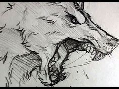 How to Draw a Wolf Head, Werewolf Head, Pencil Work, Step by Step