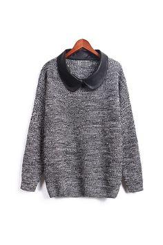 Grey Faux-Leather Collar Sweater, iAnyWear