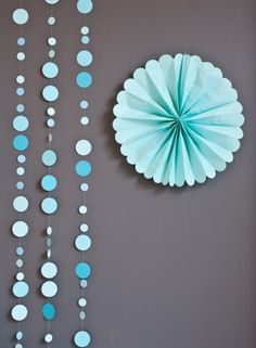 Great way to decorate for a party! Fanned Tissue flowers and circle banners / garlands! Via Kara's Party Ideas KarasPartyIdeas.com