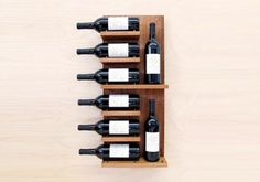 So you& done a mini-escape to the Wine Country, and picked up some drinkable souvenirs. You might as well show them off. Modern Cellar& Float Wall Shelf is a nice, modern alternative to ordinary wine racks. It also gets our thumbs up for being green. Wine Shelves, Wine Storage, Storage Rack, Wine Display, Shelf Display, Display Case, Wood Wine Racks, Wall Mounted Wine Racks, Wine Wall