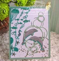 by Stamping with Bibiana: NEW Memory Box Dies: A marine Scene using the oceana corner and diving dolphins. great for a masculine card, details at the blog