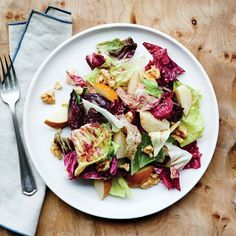 Chicory and Asian Pear Salad with Membrillo Vinaigrette | Epicurious