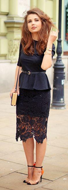 pretty #black floral crochet pencil skirt http://rstyle.me/n/h6ugsr9te