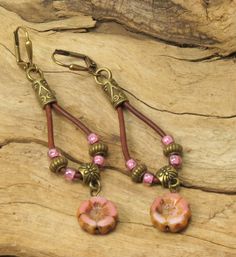 LEATHER DANGLE EARRINGS-Czech Glass Flower Dangle Earrings-Boho-Hippie-Lever Back Earwires-Glass Hawaiian Flower-Rose Dangle Earrings by CinfulBeadCreations on Etsy