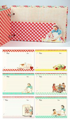 Kitschy retro recipe book album in red gingham by KBandFriends