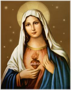 Sacred Heart of Blessed Virgin Mary Religious Pictures, Jesus Pictures, Religious Icons, Religious Art, Mama Mary, Blessed Mother Mary, Blessed Virgin Mary, Real Image Of Jesus, I Love You Mother