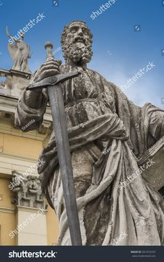 The sculpture of the Apostle Paul to the Basilica of St. John the Apostle and Evangelist, St. Michael and the Immaculate Conception in the city of Eger. Immaculate Conception, St Michael, Hungary, Photo Editing, Saints, Royalty Free Stock Photos, Sculpture, Tattoos, Illustration
