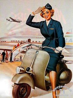 Vespa is an Italian brand of scooter manufactured by Piaggio. The name means wasp in Italian. Vespa scooters will always remind us of that lovely scene in A Roman Holiday where Audrey Hepburn and Gregory Pack cruise through Rome. Vintage Vespa, Vespa Retro, Vintage Ads, Vintage Airline, Vintage Gifts, Vespa Px 200, Vespa Pk 50 Xl, Piaggio Vespa, Lambretta