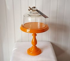 Wood Dessert Stand and Dome / Orange cupcake by OrangeZebraDesigns